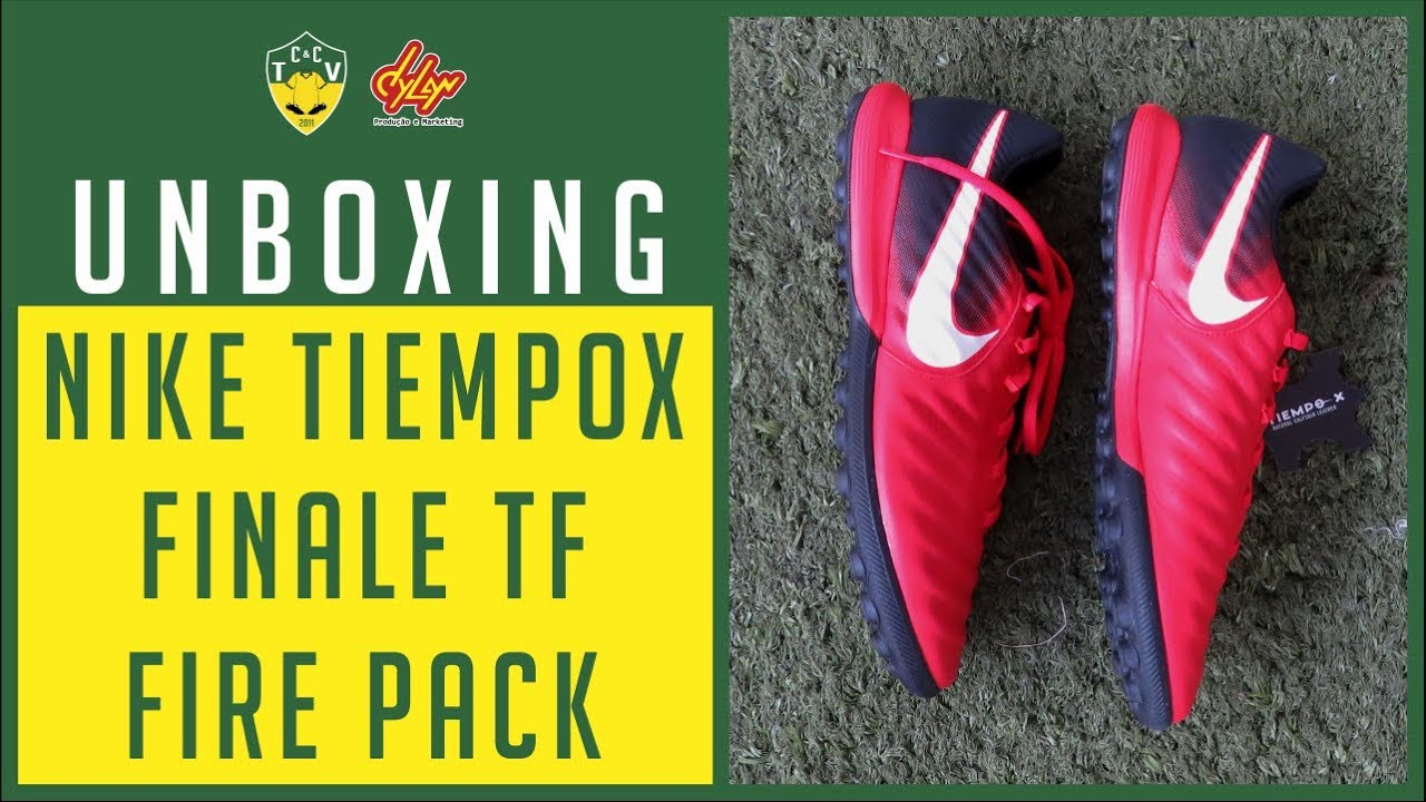 UNBOXING CHUTEIRA NIKE TIEMPOX FINALE TF 🔥 FIRE PACK   SANGUE ... 05bb0a10ed6dd