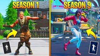 EVOLUTION OF SEASON DANCES & EMOTES IN FORTNITE..! (Season 1 - Season 9)