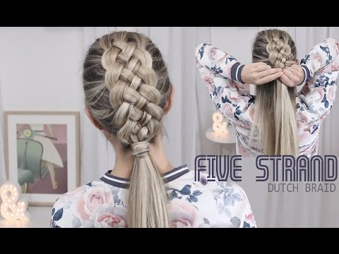 Beautiful Five (5) Strand Dutch Braid Tutorial - How to DIY