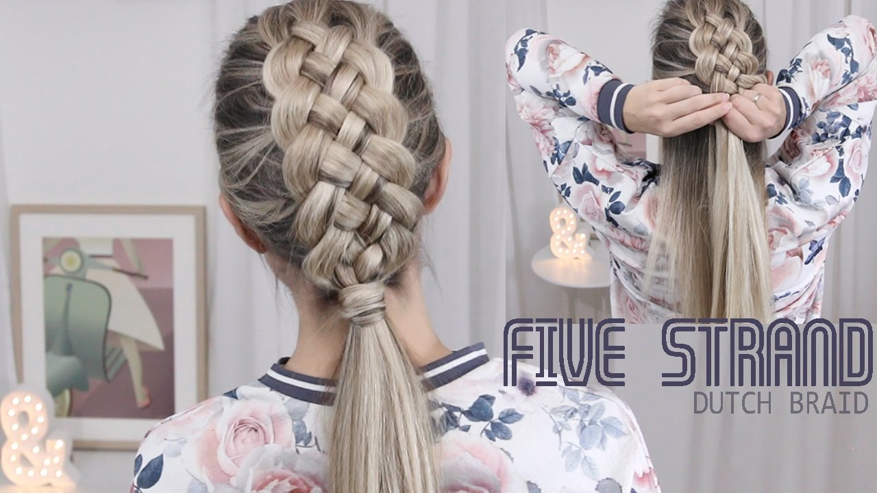 548a01bc5 Beautiful Five (5) Strand Dutch Braid Tutorial - How to DIY - YouTube