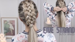 Beautiful Five (5) Strand Dutch Braid Tutorial - How to DIY