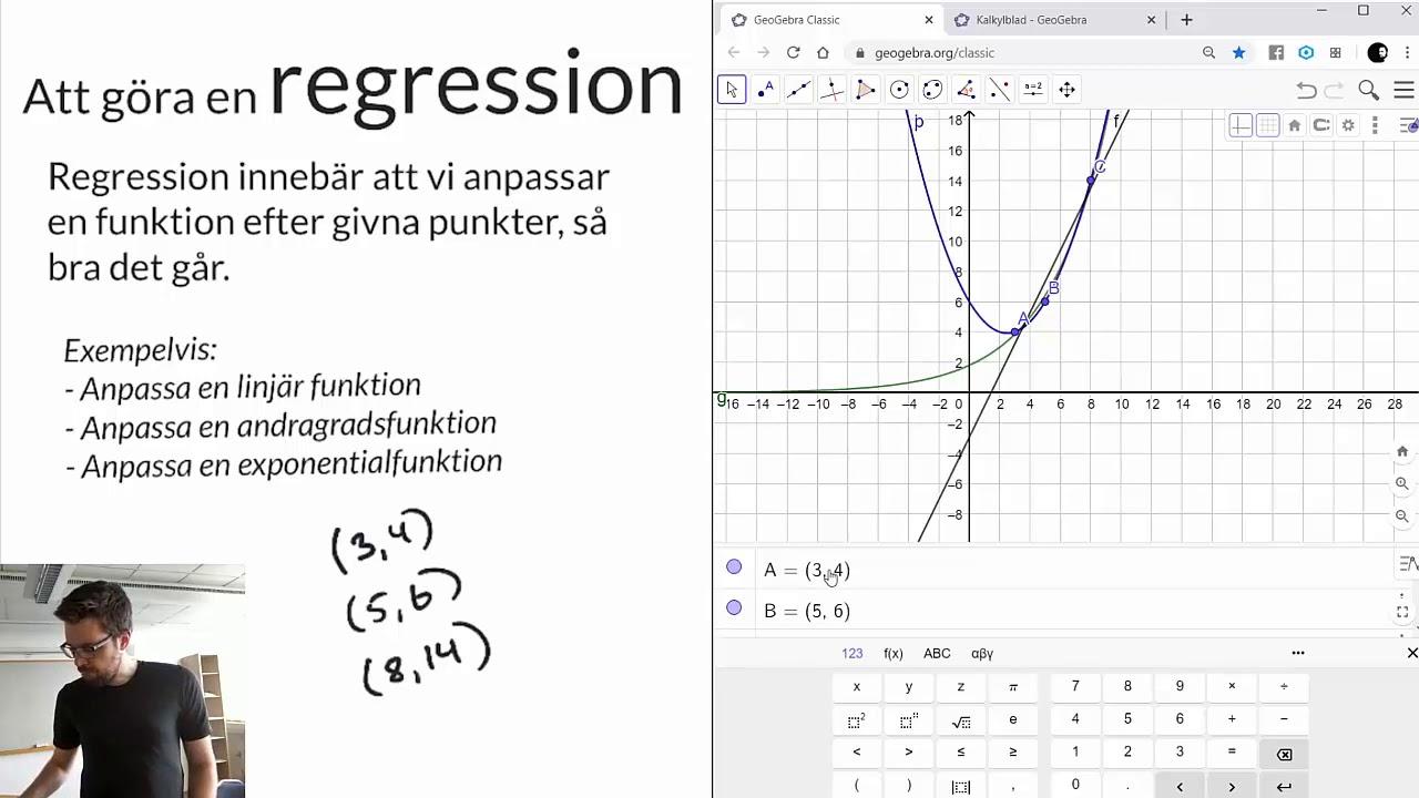 Matematik 2: REGRESSION: Att göra en regression i GeoGebra