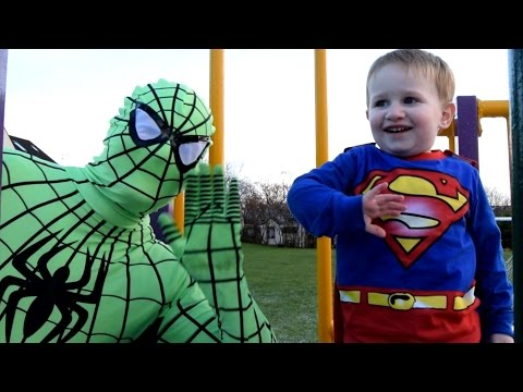 Thumbnail: Green Spiderman & Superman In Real Life - Snow At The Park!