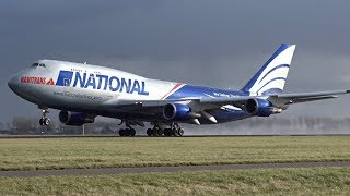 BIG PLANES Take Off Wet Runway, Schiphol Airport