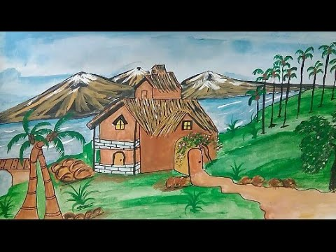 How to easy hut landscape drawing|| step by step for kids||