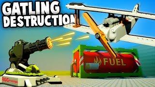 GIANT MINIGUN vs Airplanes!  LEGO Battle Simulator Gameplay (Brick Rigs Multiplayer)