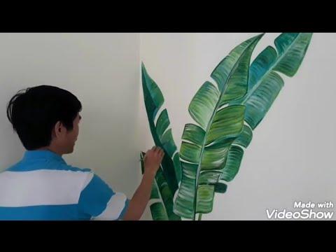 Cận cảnh chi tiết vẽ cây chuối và trang trí hoa lá lối đi cầu thang nhanh và đẹp /Tranh tường Decor | Tổng hợp các thông tin liên quan tranh cây chuối đầy đủ nhất
