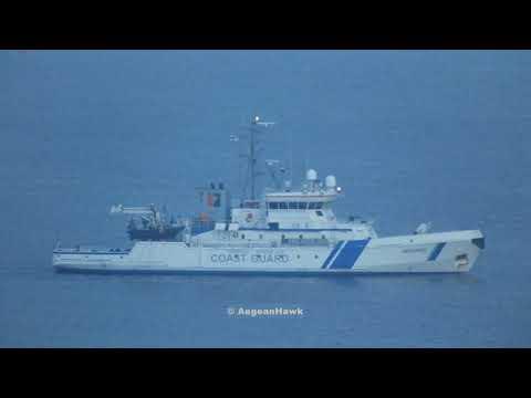 Finish Patrol Vessel Merikarhu with Frontex patrolling Chios Strait.