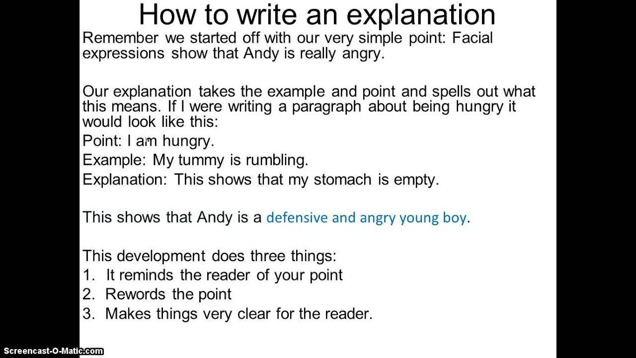How to write an explanation