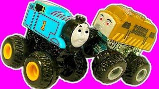 Diesel10 MINIS Monster Truck Custom & Thomas Vs Diesel10 Monster Train Truck Stunts