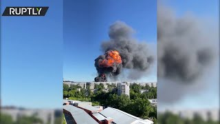 Six injured as gas station fire triggers massive blasts in Russia's Novosibirsk