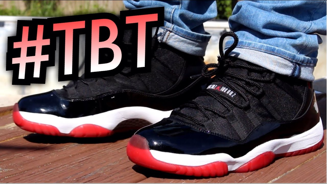 air jordan 11 bred on feet