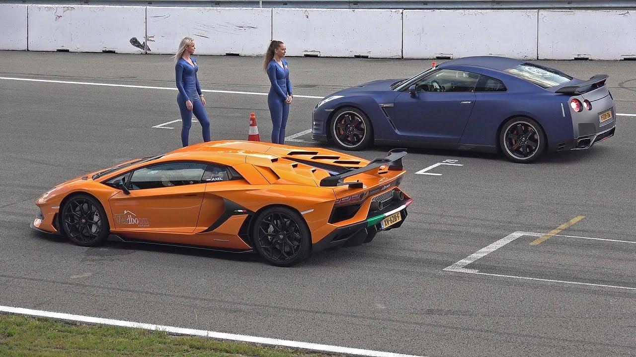 Download Lamborghini Aventador SVJ vs Nissan GT-R R35