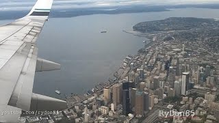 Scenic Approach into Seattle - Alaska Air 737-700 | Onboard Arrival HD