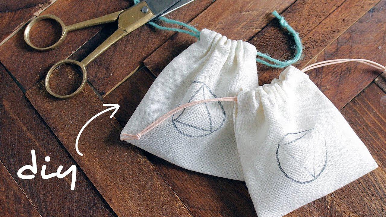 DIY DRAWSTRING BAGS | abetweene - YouTube