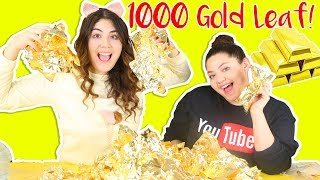 1000 GOLD LEAF SLIME! HUGE CLEAR SLIME WITH 1000 GOLD LEAVES | Slimeatory #232