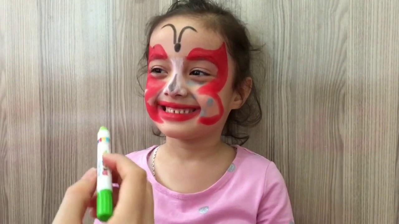 Bereni Yüz Boyama Ile Boyadık Beren Kelebek Oldu Eğlenceli çocuk