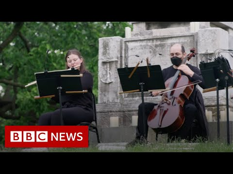 The New York Philharmonic playing at a cemetery - BBC News
