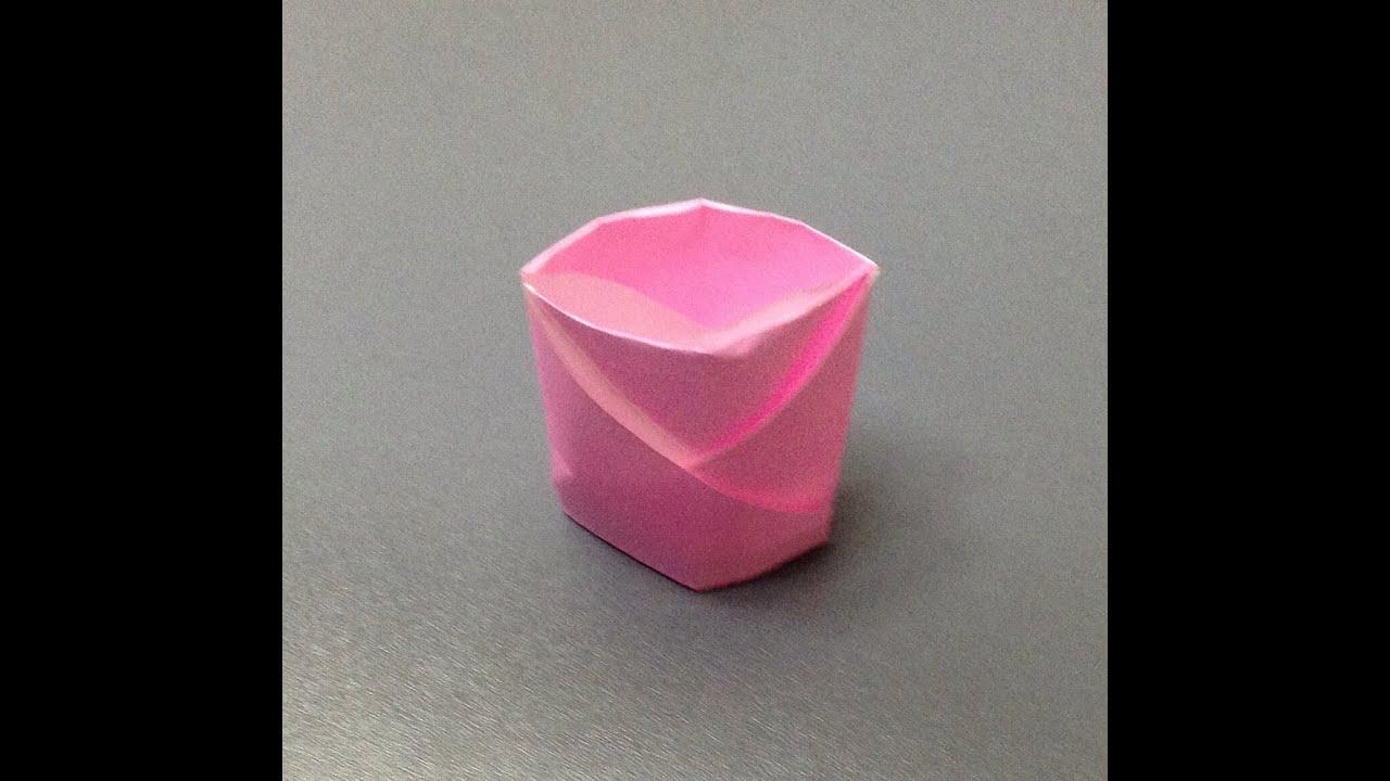 すべての折り紙 紙 折り方 : ... コップ 折り方 作り方 - YouTube