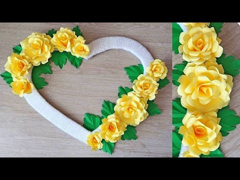 Paper Rose Wall Hanging - Easy Wall Decoration Ideas - Paper craft - DIY Wall Decor 608