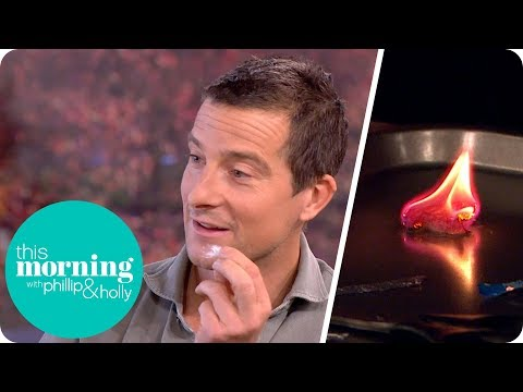 Bear Grylls Makes Fire With Chewing Gum, a Battery and Fluff! | This Morning