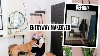 *STUNNING* Entryway Makeover! (Painting 101, DIY Console Table + Coat Rack!) 😍