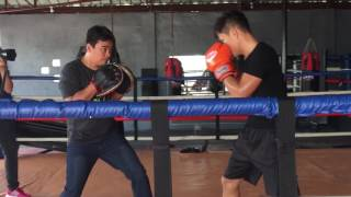 Jerwin Ancajas hits punch mitts