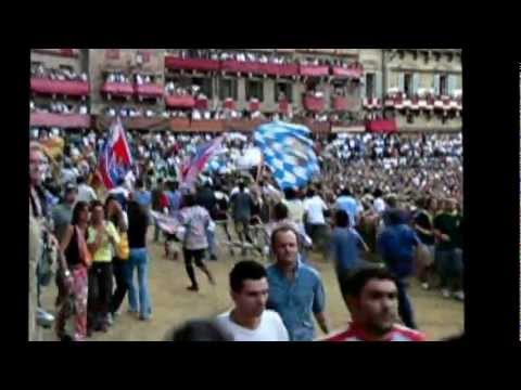 Epic Palio Medieval Horse Race Fall in Piazza del Campo Siena Italy Italia