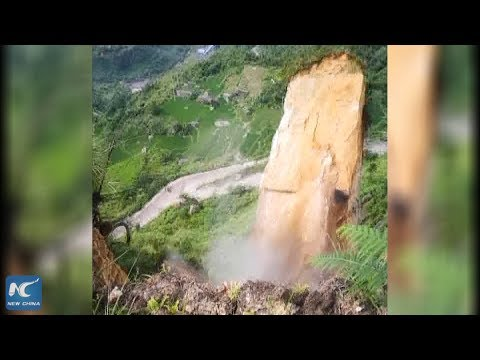 Terrifying moment of mountain collapse in SW China