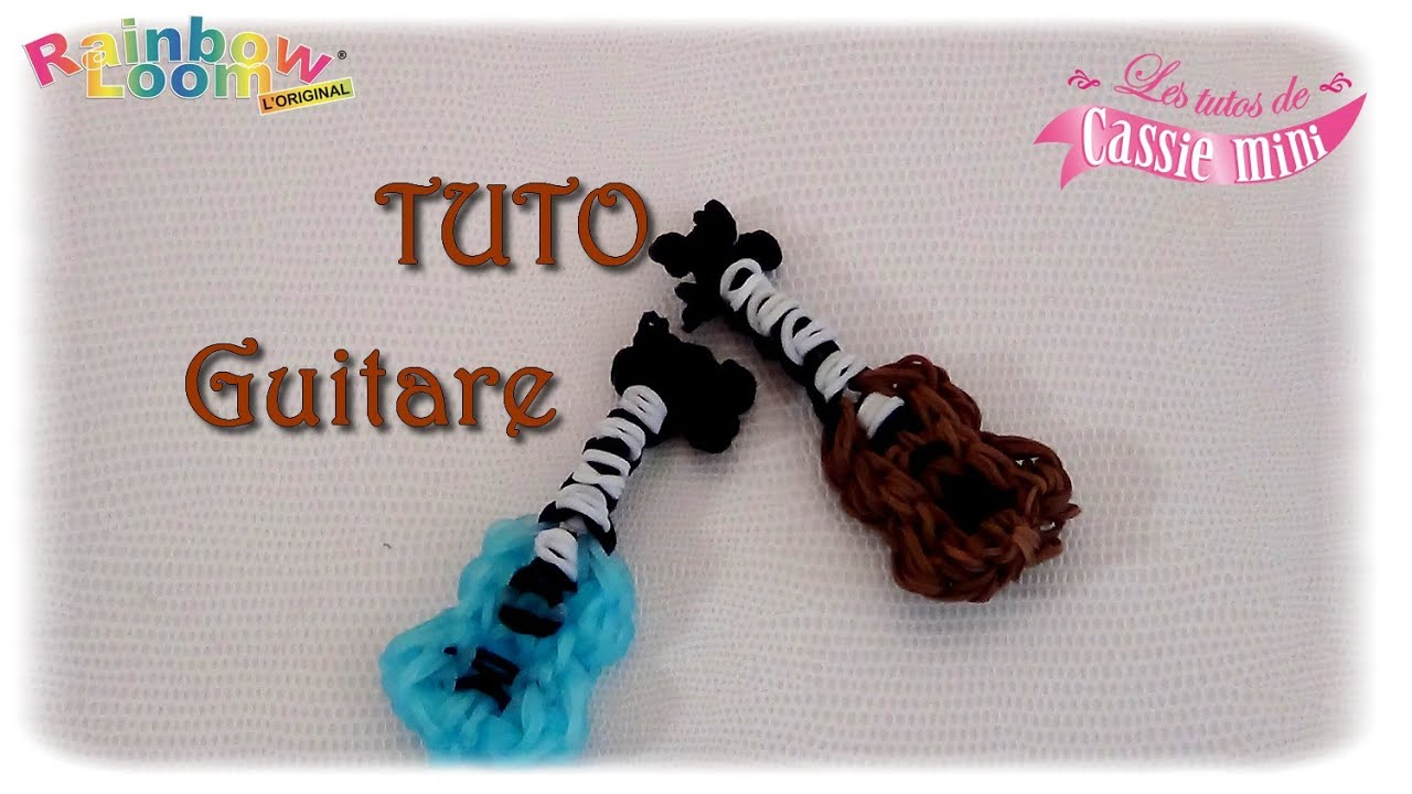 Tuto guitare en lastiques rainbow loom youtube for Mural en elastique