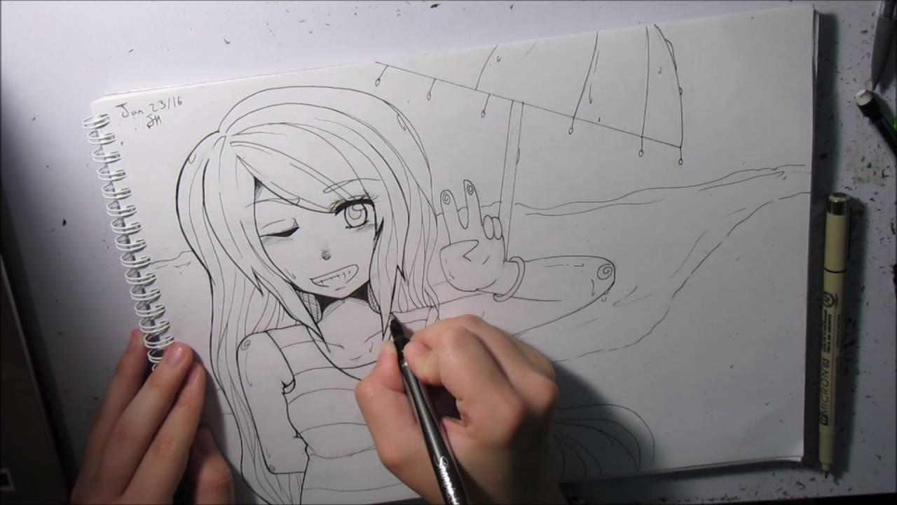 Anime Girl Lineart : Beach girl lineart youtube