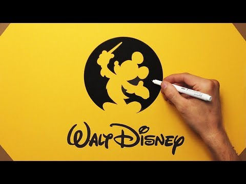 How To Draw Walt Disney Records Logo On Yellow Paper