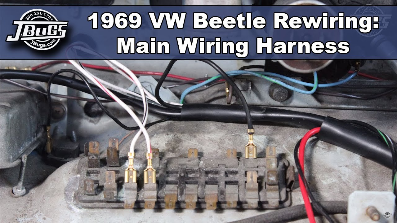 JBugs - 1969 VW Beetle Rewiring - Main Wiring Harness on 68 vw wire harness, dual car stereo wire harness, goldfish harness, vw bus regulator wiring, 2001 jetta dome light harness, vw wiring diagrams, figure 8 cat harness, vw starter wiring, besi harness, vw ignition wiring, vw coil wiring, vw engine wiring, vw beetle carburetor wiring, vw alternator wiring, vw wiring kit, vw bus wiring location, vw headlight wiring,