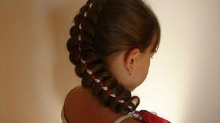 Коса с двумя лентами. Коса из пяти прядей. Детские причёски. Hair tutorial