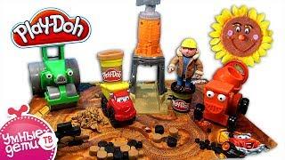 Play Doh Гравийный завод 49413 с машинкой Chuck. Набор пластилина. Обзор и как лепить. На русском.