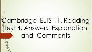 Answering Cambridge IELTS 11 Academic Reading Test 4 with explanation- Dr. Mahmoud Ibrahim