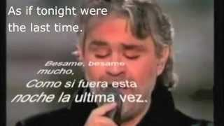 Besame mucho-Andrea Bocelli with lyrics and translation