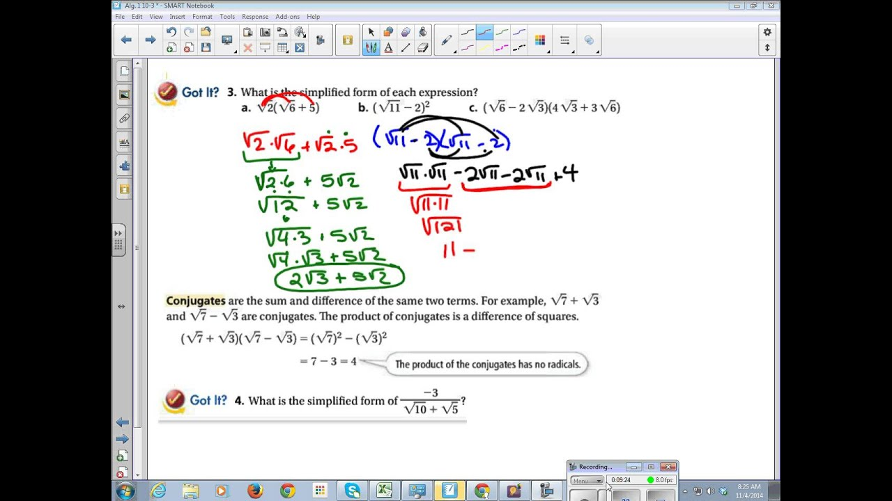 Algebra 1 Chapter 10 Section 3 Operations of Radical Expressions