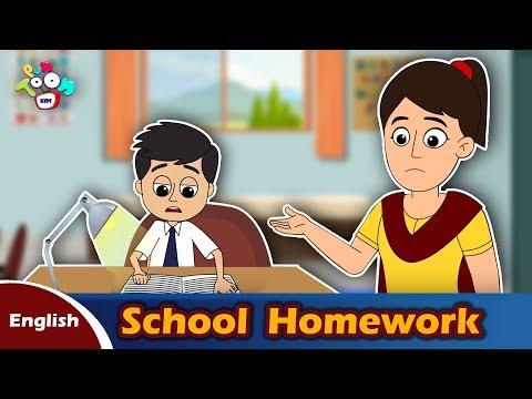 School Homework | English Moral Stories | English Animated Stories | PunToon Kids English