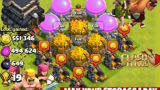 Clash of Clans - How to max / full your storage in 1 day (Th9 Barch Strategy)