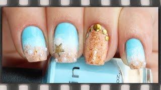 Морской маникюр на лето 2016 | Sea Nails Tutorial(Видео-урок: летний маникюр