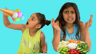 Deema and Sally Eat and Cook Healthy Food  | Funny Food toys Video for Kids