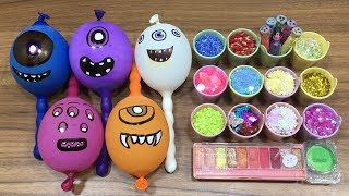 MAKING SLIME WITH FUNNY BALLOONS!! MIXING EYESHADOW AND GLITTER INTO SLIME! RELAXING SLIME