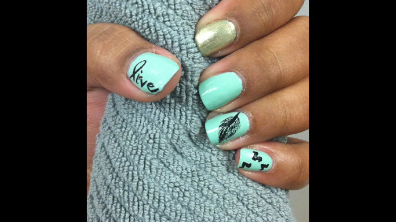 - Mint Feather Nails! - YouTube