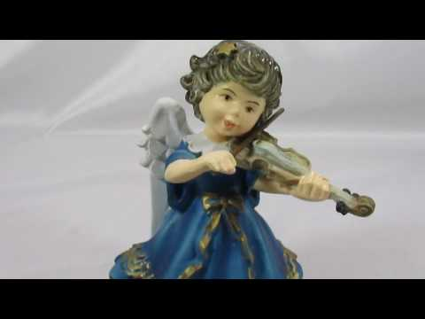 Vintage Anri Italy Angel Violin Figurine Music Box~Rising Phoenix Antiques