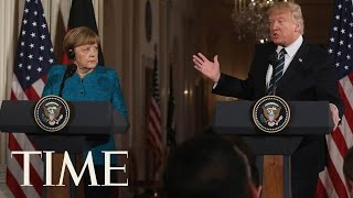 President Trump Repeats Wiretapping Claim As He Stands By Angela Merkel | TIME