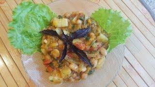 Консервированная фасоль с картофелем и овощами в мультиварке