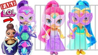 Shimmer and Shine Hiding from Zeta + Fake LOL Surprise Dolls Dress Up Transformation Lil Sisters!
