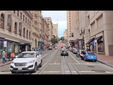Driving Downtown - Popular SF Cable Car Route - San Francisco CA USA 4K