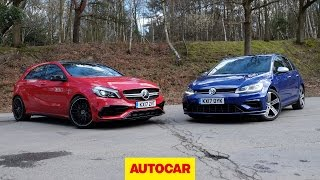 Mercedes-AMG A45 versus Volkswagen Golf R review | 4wd hot hatches go head to head | Autocar